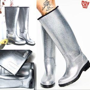 New NWT HTF Dolls Kill Melissa Silver Glass Rain